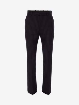 Alexander McQueen Pinstripe Tailored Kickback Pants
