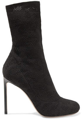 Francesco Russo Open-knit Sock Boots - Black