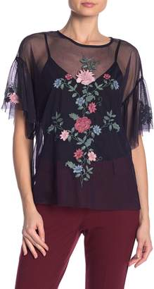 Vince Camuto Embroidered Mesh Blouse (Women)