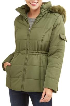 Weathertamer WEATHER TAMER Women's Quilted Puffer Jacket w/ Faux Fur-Trim Hood