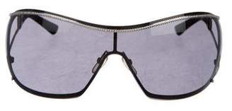 Valentino Shield Crystal-Trimmed Sunglasses