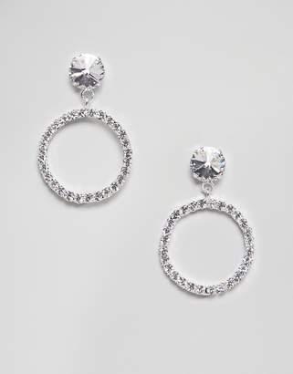 At Asos Swarovski Krystal London Crystal Circle Drop Hoop Earrings