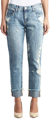 True Religion WOMENS CRYSTAL EMBELLISHED DESTROYED CAMERON BOYFRIEND JEAN