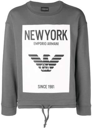 Emporio Armani New York drawstring hem hoodie