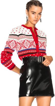 MSGM Jacquard Knit Cardigan in Red | FWRD