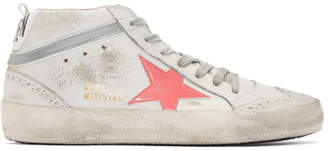 Golden Goose White and Pink Mid Star Sneakers