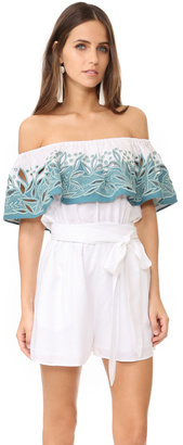 Mara Hoffman Embroidered Off Shoulder Romper $295 thestylecure.com