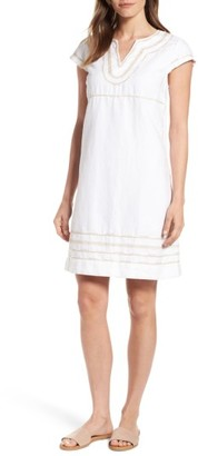 Women's Tommy Bahama Embroidered Linen & Cotton Shift Dress $138 thestylecure.com