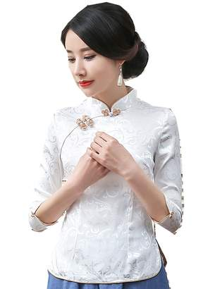 11a9dbe57 story. Shanghai Women 3/4 Sleeve Chinese Cheongsam Top Tang Suit Blouse L  White