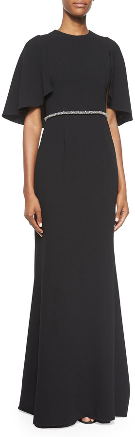 Carmen Marc ValvoCarmen Marc Valvo Cape-Sleeve Embellished Gown, Black