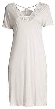 Hanro Women's Jolina Short Sleeve Lace Gown