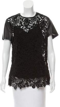 Ralph Lauren Leather Trimmed Lace Top
