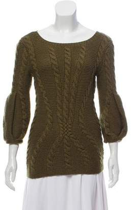 Oscar de la Renta Cashmere Cable Knit Sweater