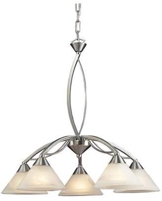 Elk Elysburg 5-Light Chandelier, Satin Nickel And Marblized White Glass