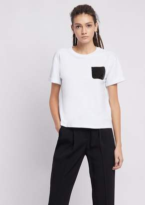 Emporio Armani Jersey T-Shirt With Tone-On-Tone Sequined Pocket