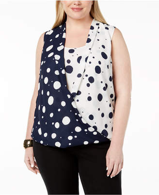 Alfani Plus Size Dot-Print High-Low Blouse, Created for Macy's