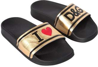 Dolce & Gabbana I Love Metallic Leather Flip Flops