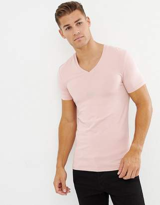 Asos DESIGN muscle fit t-shirt with v neck in pink