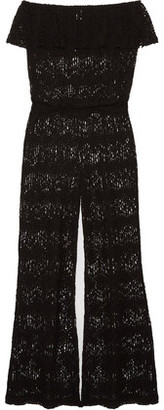 Eberjey Free Spirit Gwen Ruffled Crocheted Cotton-Blend Jumpsuit $144 thestylecure.com