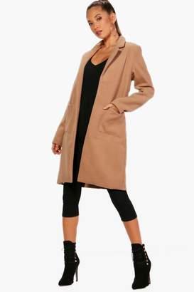 boohoo Collared Wool Look Coat With Pockets