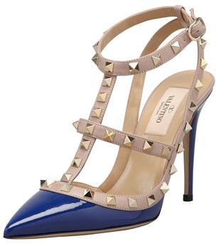 Valentino Rockstud Two-Tone T-Strap Sandal, Blue/Poudre
