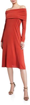 Natori Matte Jersey Off-the-Shoulder Long-Sleeve Dress