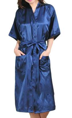 GRMO Women Bathrobe Loungewear Solid Color Satin Kimono Robe Nightgown US 3XL