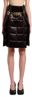Bottega Veneta Lacquered Satin Quilted Wrap Skirt