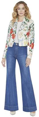 Alice + Olivia Cody Printed Leather Crop Moto Jacket