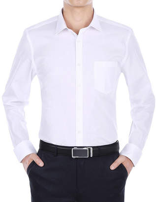 VERNO Verno Men's Wrinkle Resistant Trim Fit Long Sleeve Dress Shirt - Big & Tall