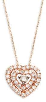 "LeVian Chocolatier® Chocolate & Vanilla Diamondsâ""¢14K Strawberry Gold® Pendant Necklace"