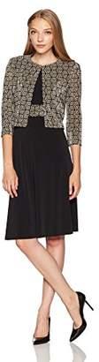 Jessica Howard Women's Petite Printed Swing Jacket Dress