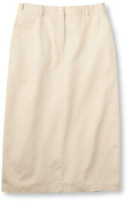L.L. Bean L.L.Bean Wrinkle-Free Bayside Twill Long Skirt, Original Fit Hidden Comfort Waist