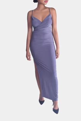 Mystic Drape-Front Maxi Dress