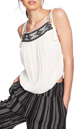 d7ced43661ed 1 STATE 1.STATE Tie Shoulder Embroidered Crinkle Gauze Top