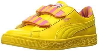 Puma Girls' Sesame Str Basket Big Bird Mono V PS Sneaker
