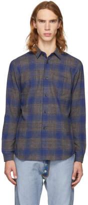 John Elliott Grey and Navy Check Shirt