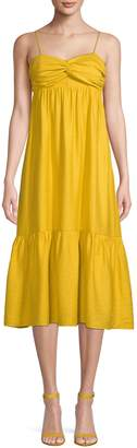 Joie Knot-Front Ruffled Midi Dress