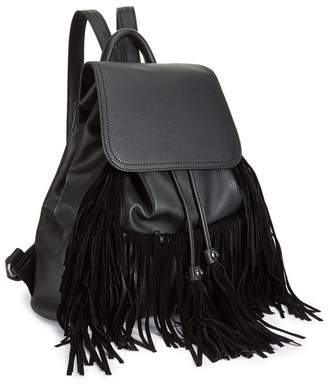 Miss Selfridge Black Fringe Backpack