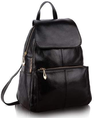58a1bf16c270 Greeniris Ladies Genuine Leather Casual Backpack School Backpack for Women  Shoulder Bag Women s Backpack Fashion Black