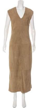 Brunello Cucinelli Suede Monili-Trimmed Dress