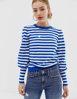 Only organic cotton stripe jumper with cuff detail
