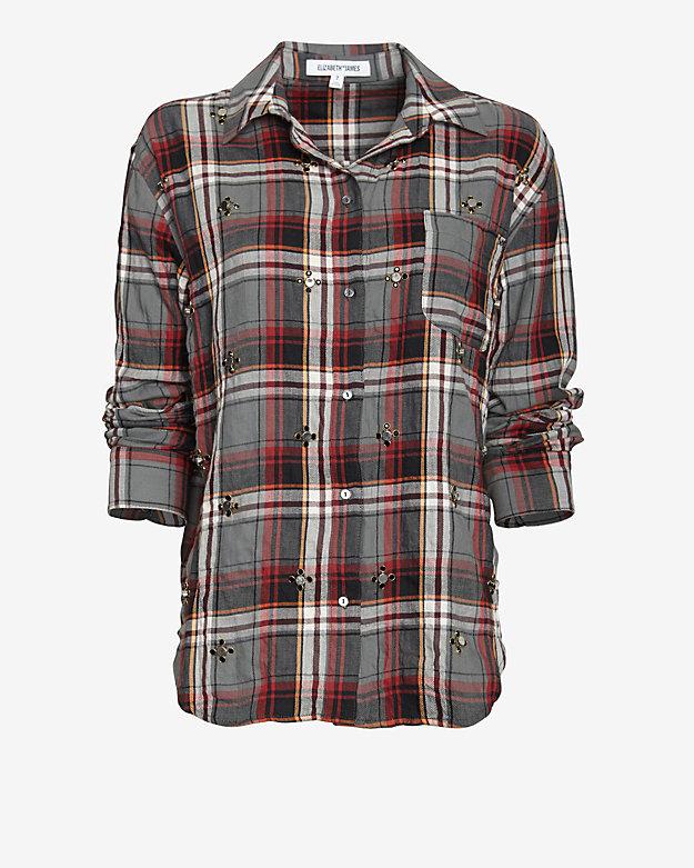 Elizabeth and James Embellished Plaid Shirt