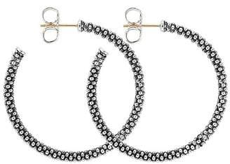 Lagos Beaded Thin Hoop Earrings, Sterling Silver, 35mm