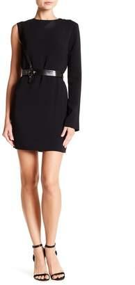 Helmut Lang Leather Harness Detailed One Shoulder Dress