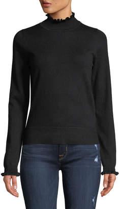 Max Studio Ruffle-Trim Mock-Neck Sweater