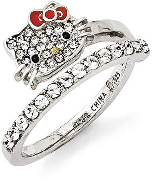 Hello Kitty Czech Crystals Flat Face & Red Bow Girl's Spiral Ring