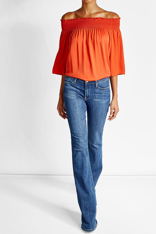TheoryTheory Off-The-Shoulder Silk Tunic
