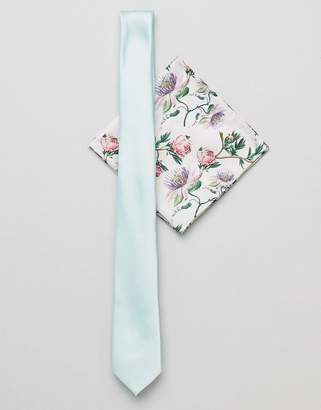 Asos DESIGN slim tie in mint and floral pocket square
