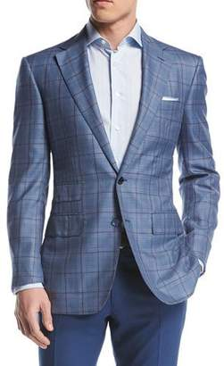 Stefano Ricci Windowpane Two-Button Sport Coat, Blue